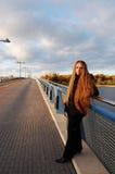 On the Bridge. Thinking about something on the bridge stock image