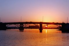 Bridge. Sunset at Sharjah Royalty Free Stock Photo