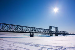 The bridge. Arkhangelsk, bridge through Northern Dvina Stock Photo