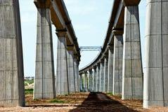 Bridge. A huge high concrete train bridge under construction Royalty Free Stock Images