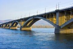 Bridge. In Krasnoyarsk, Enisey River Stock Image