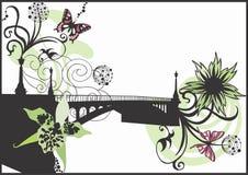 Bridge. Illustration of a bridge and decorative patterns Royalty Free Stock Images