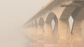Bridge above the Ganges river in Patna, India. Is being refurbished in December 2013 stock photos