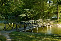 Bridge above a lake Royalty Free Stock Images