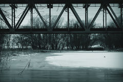 Bridge above lake royalty free stock photography