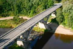 Bridge from above. Bridge over river in Latvia. Aerial view Stock Photo