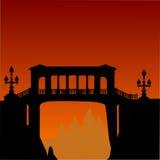 Bridge above precipice and orange sunset. Illustration with bridge above precipice and sunset Stock Photos