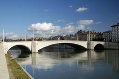 Bridge above river Saone Stock Images