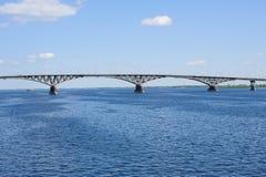 Bridge above river Volga, Russia, Saratov. Stock Images