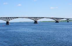 Bridge above river Volga, Russia, Saratov. Stock Image