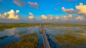 Bridge above the swamp Stock Photos