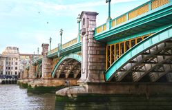 Bridge above the Thames river in London city United Kingdom. Close up of a bridge above the Thames river in London city United Kingdom stock photo