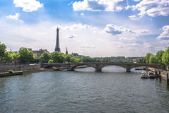 Bridge accross the Seine in Paris Stock Photography