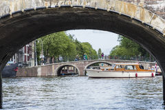 Bridge across Amsterdam channel, Netherlands. Royalty Free Stock Images