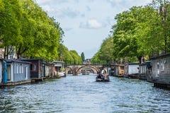 Bridge across Amsterdam channel, Netherlands. Royalty Free Stock Photography