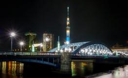 Bridge Across Asakusa to Sumida SkyScrapers Royalty Free Stock Photos