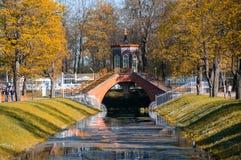 Bridge across canal in Alexander`s park Stock Image