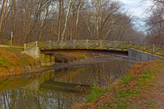 A bridge across canal in Great Falls Park, Carderock, Maryland. Royalty Free Stock Images