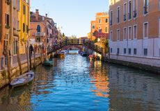 Bridge across canal in Venice Italy royalty free stock image