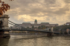 A bridge across the Danube. The Chain Bridge in Budapest, Hungary Royalty Free Stock Images
