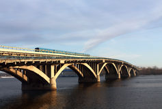 Bridge across Dnepr river in Kiev Royalty Free Stock Image