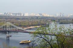 Bridge across the Dnieper River stock image