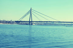 Bridge across the Dnieper river, Kiev. Stock Images