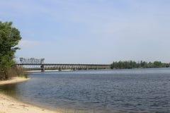 Bridge across the Dnieper River Royalty Free Stock Image