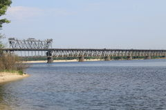Bridge across the Dnieper River Stock Photo