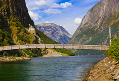 Bridge across fjord Sognefjord - Norway Stock Photography