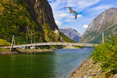 Bridge across fjord Sognefjord - Norway Stock Photos