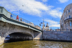 The bridge across the Fontanka river in Saint Petersburg. Bridge Belinsky, which connects Engineering the street and the street Belinsky. Beautiful bridge Royalty Free Stock Image