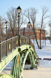 Bridge across the frozen pond Royalty Free Stock Photos
