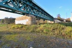 Bridge across the grassy. Valley for railway Royalty Free Stock Photos