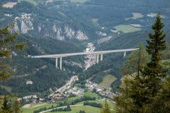 Bridge across the hills stock images