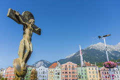 Bridge across the Inn in Innsbruck, Upper Austria. Royalty Free Stock Image