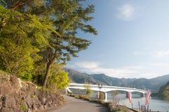 A bridge across the Kawakuchigo lake. A bridge across the Kawakuchigo lake with trees and foot walk under the bridge Stock Photos