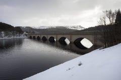 Bridge across lake in snow Royalty Free Stock Image