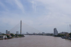 Bridge across main river under blue sky. Bridge cross the most important river of Bangkok Royalty Free Stock Photos