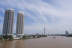 Bridge across main river under blue sky. Bridge cross the most important river of Bangkok Stock Photo