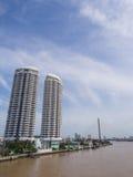Bridge across main river under blue sky. Bridge cross the most important river of Bangkok Stock Photography