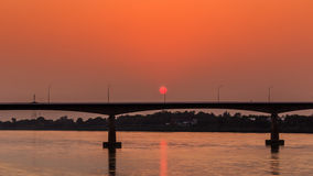 Bridge across the Mekong River at sunset. Thai-Lao friendship br. Idge at Nong Khai Thailand Royalty Free Stock Images