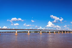 Bridge across the Mekong River. Thai-Lao friendship bridge, Thai Royalty Free Stock Images