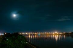 Bridge across the Mekong River. Thai-Lao friendship bridge, Thailand, At night Stock Images