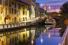 Naviglio Grande canal in Milan, Lombardia, Italy Royalty Free Stock Photos