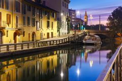 Naviglio Grande canal in Milan, Lombardia, Italy Stock Photography