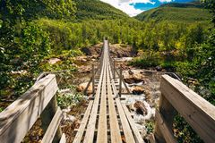 Bridge Across Norway Mountain River Stock Images