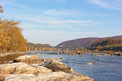 A bridge across Potomac River near Harpers Ferry, West Virginia, USA. Royalty Free Stock Photography