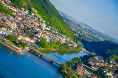 Bridge across Rhine river near Bingen am Rhein, Rheinland-Pfalz, Stock Image