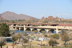 USA, Arizona/Tempe: Bridge Across the Rio Salado Stock Images